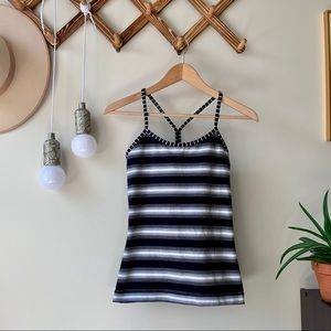 Lululemon Power Y Tank Capilano Stripe Black White